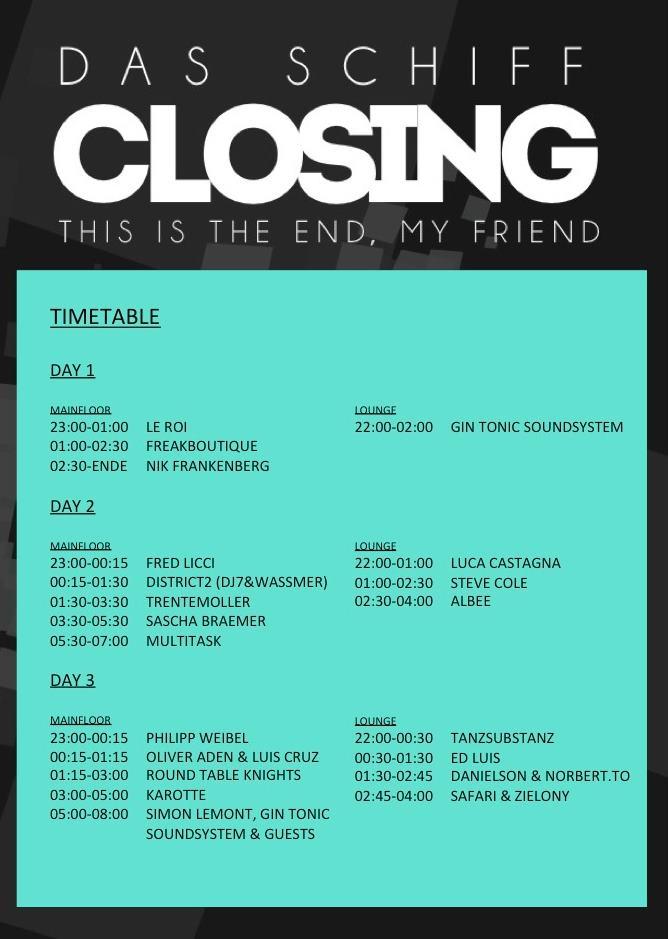 Das Schiff Closing