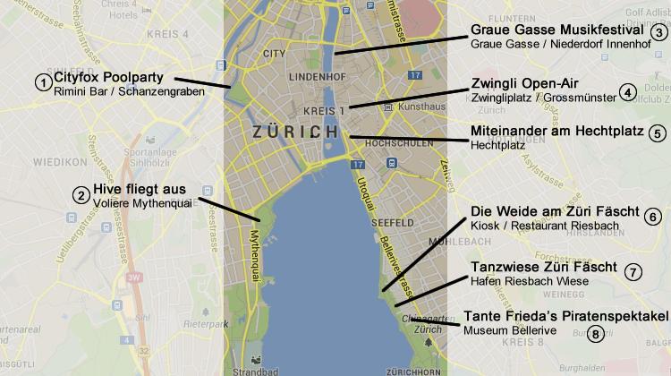Elektronische Musik am Züri Fäscht 2013 - Plan