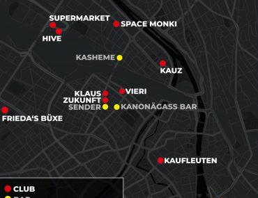 Zürcher Club Karte für Techno und House